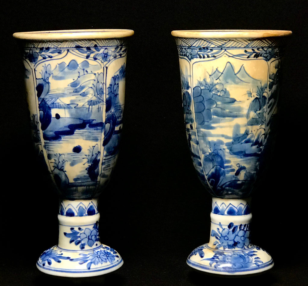 A Pair of Qing Dynasty Blue and White Goblets
