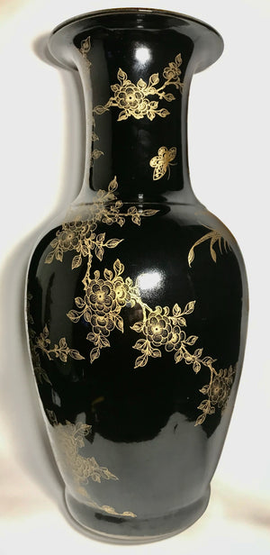 Qing Dynasty Black Mirror Vases with Gilt and Kangxi Seal - 10 Dynasties