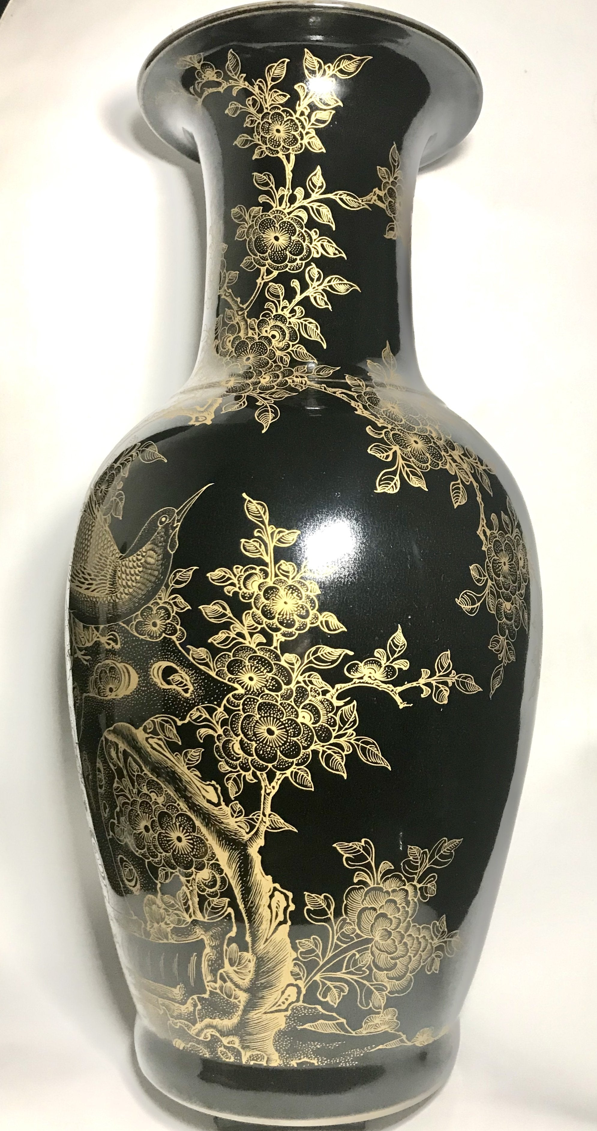 qing dynasty black mirror vase