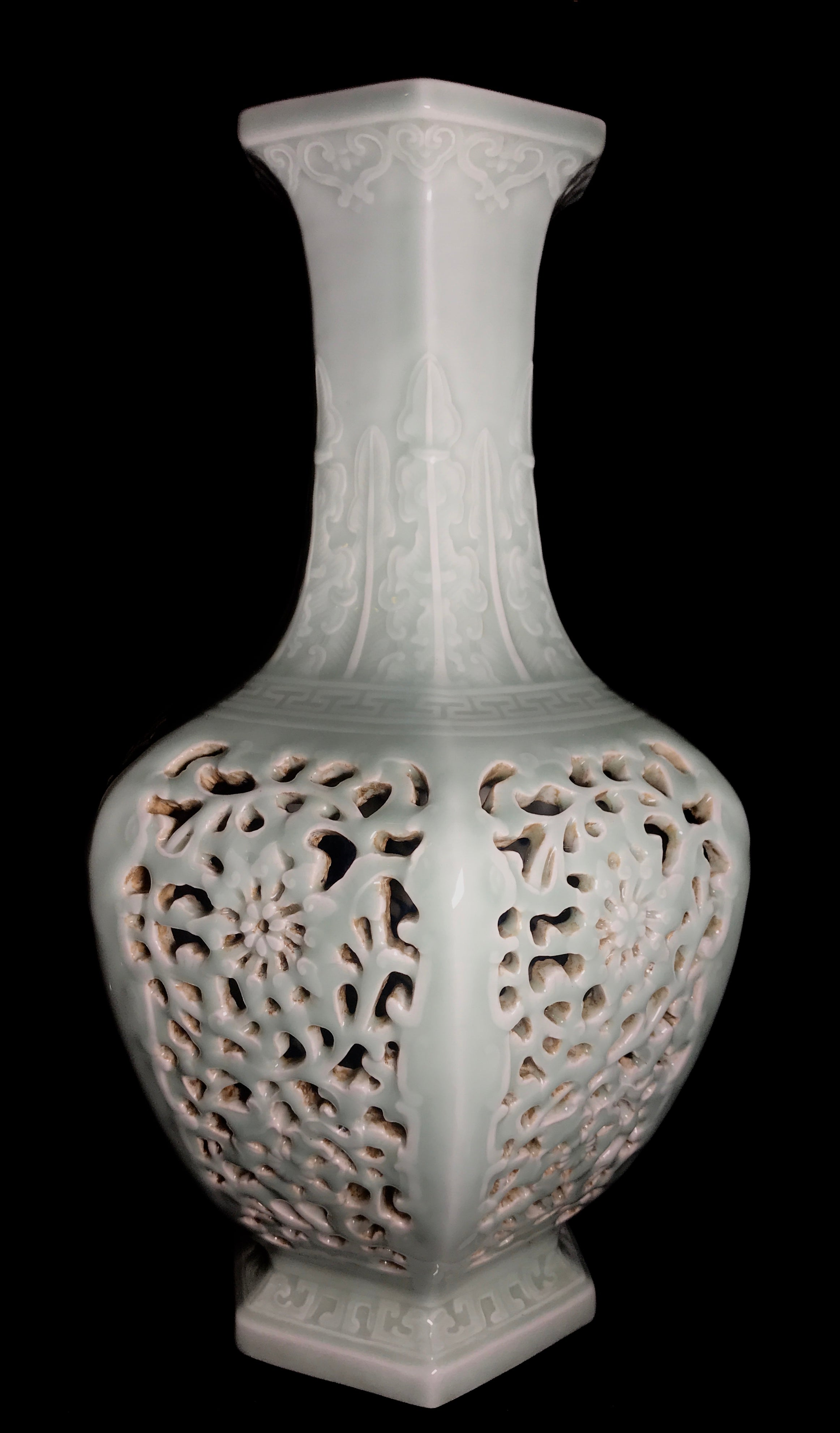 Openwork Chinese Douqing Glaze Porcelain Vase with Qianlong mark
