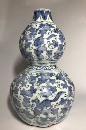 ming double gourd vase with wanli mark