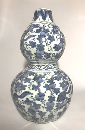 wanli blue and white double gourd vase