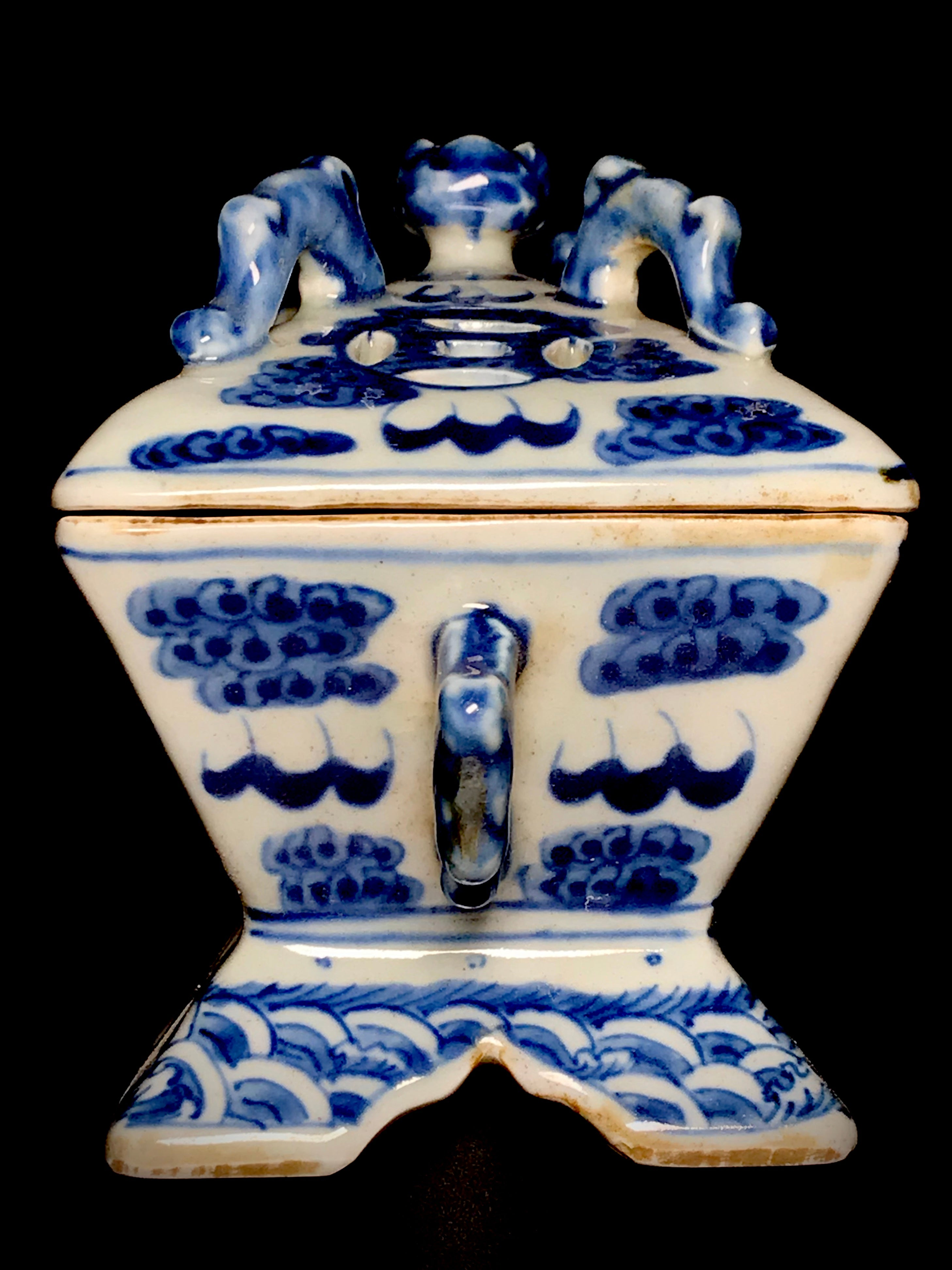 qianlong blue and white censer