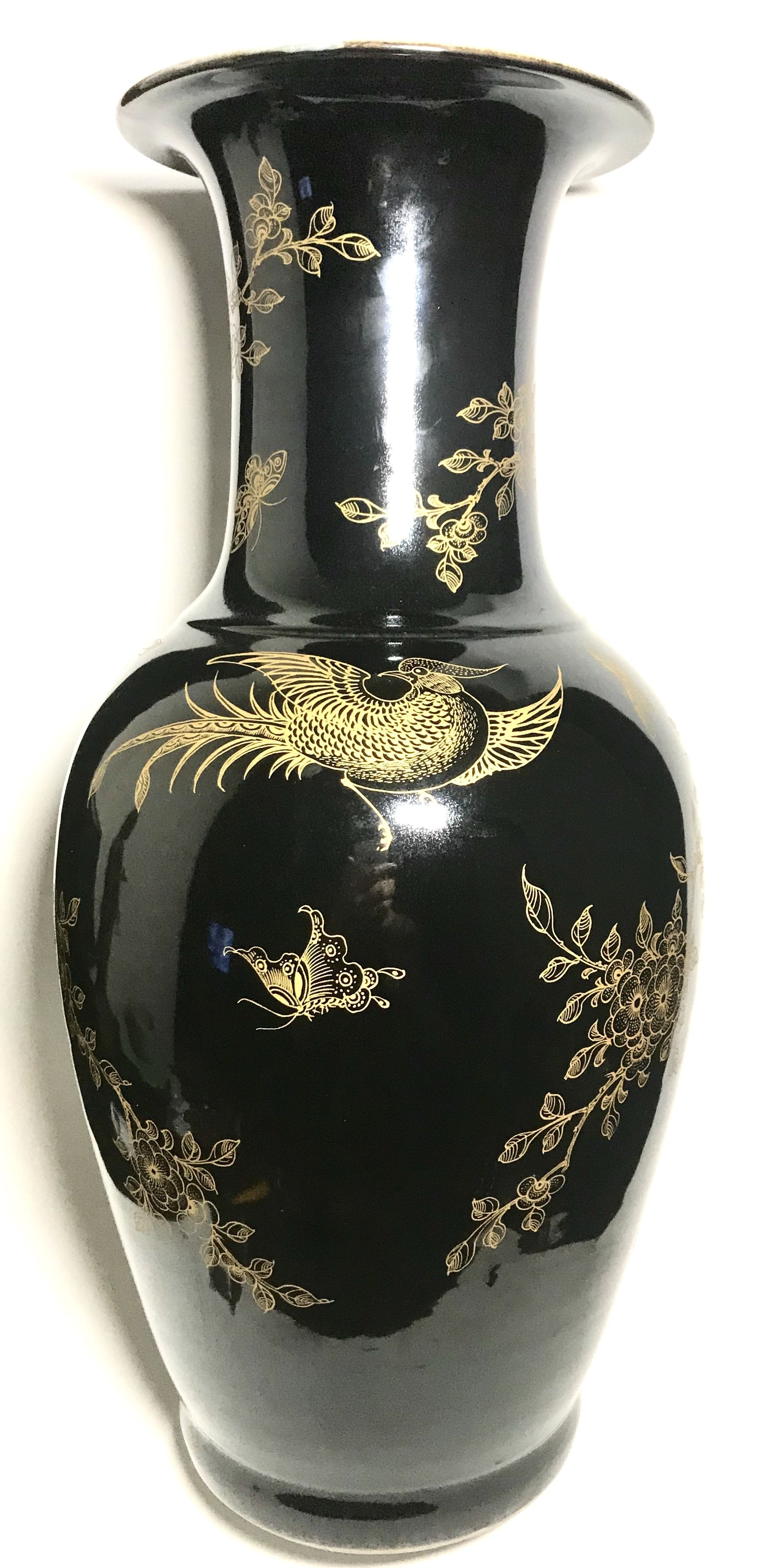 kangxi guilded black mirror vase