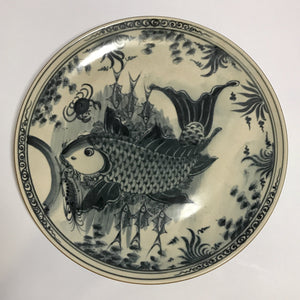 yuan dynasty blue and white charger with fish