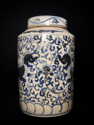 Yuan Dynasty blue and white lidded jar