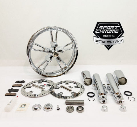 Enforcer chrome front wheel and chrome front fork front end kit