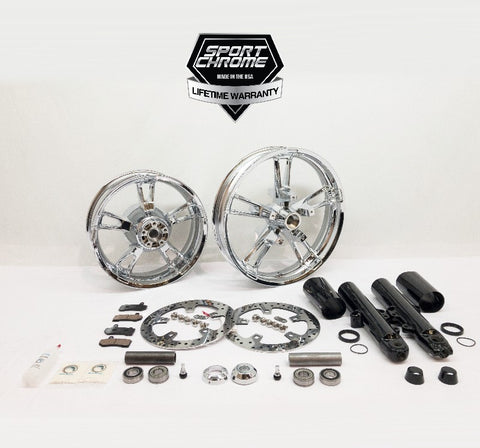 enforcer chrome wheel set with black front fork front end combo package