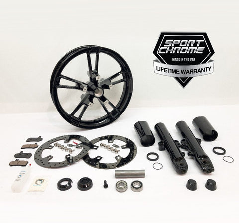 enforcer all black wheel and front end kit black forks