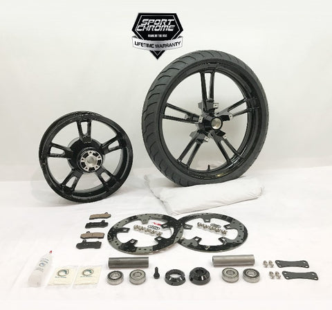 reinforcer black front and rear wheel for street glide