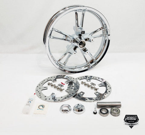 enforcer chrome front wheel with discs and hardware plus spacers from Sport Chrome