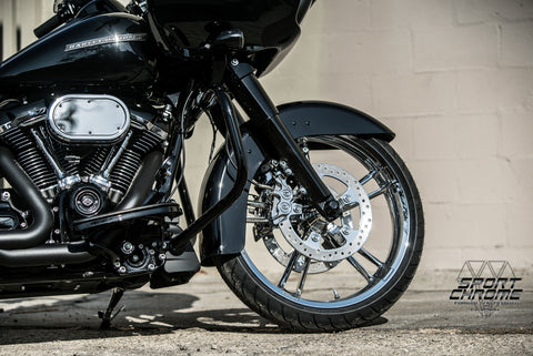 street glide chrome wheels black forks front end