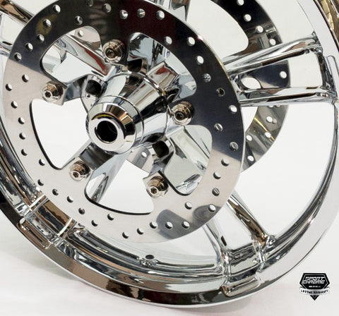 enforcer chrome front wheel with discs and hardware for street glide by sport chrome