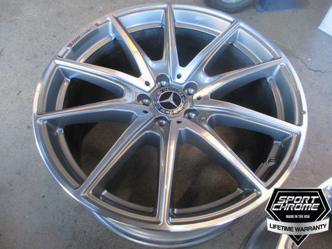 s560 amg 20 inch chrome wheels by sport chrome with a lifetime warranty