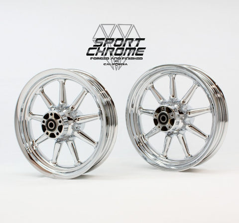 9 Spoke Chrome Wheel set for 2002-2007 Harley Touring Models
