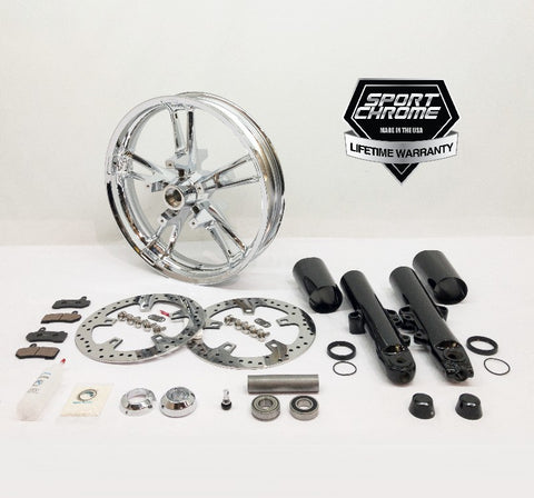 Enforcer Chrome Front Wheel and Black Front Fork Package