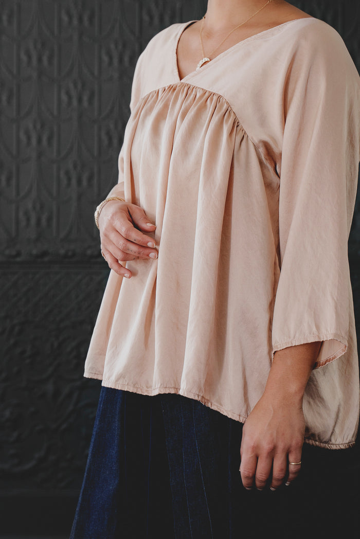 Shirred V-neck Top