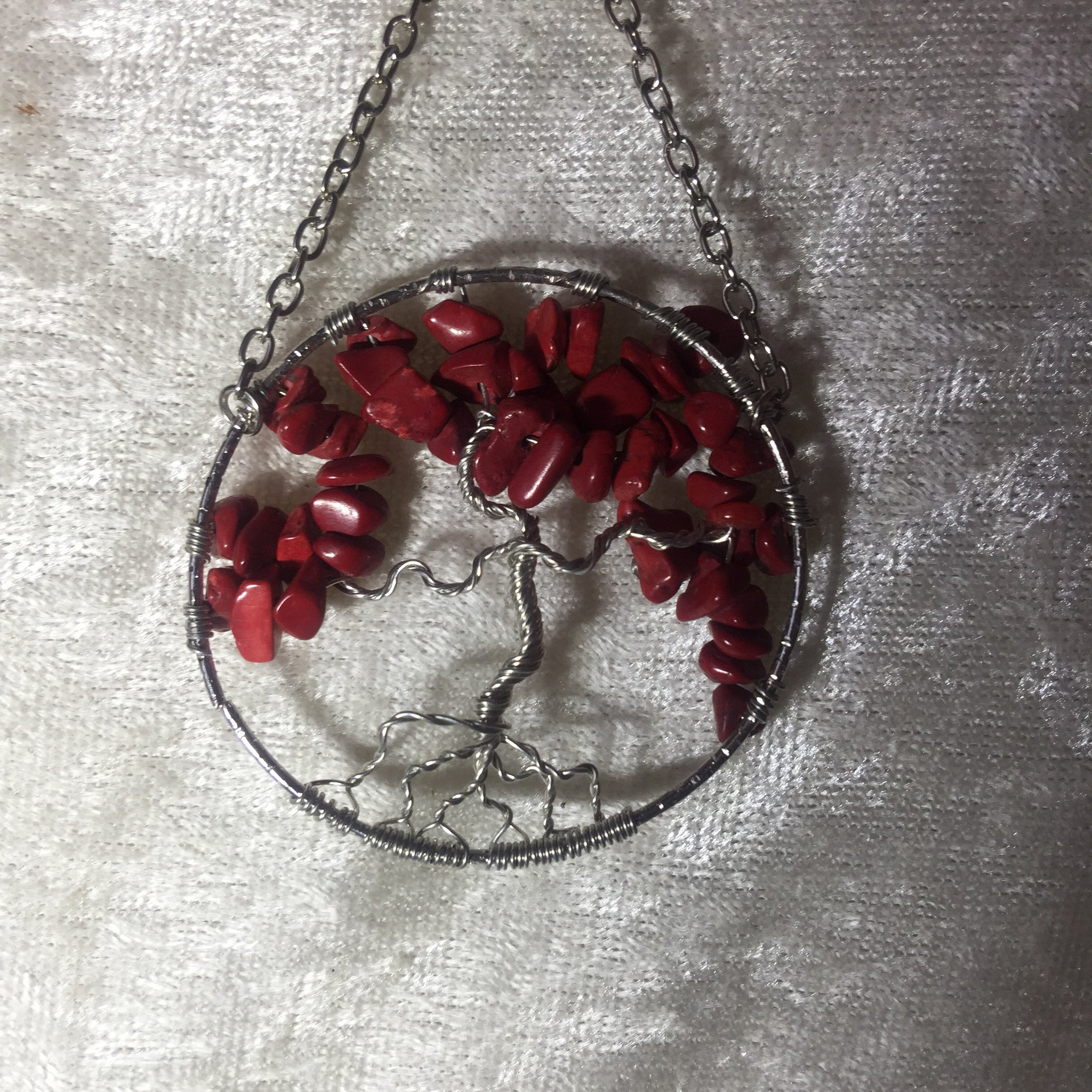 Tree Of Life Suncatcher- Red Coral - Crystal Geological