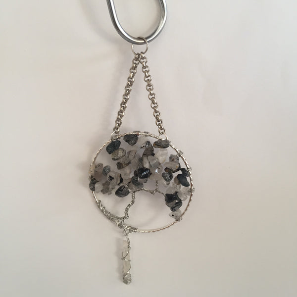 Tourmalated Quartz Silver Suncatcher with Crystal Point