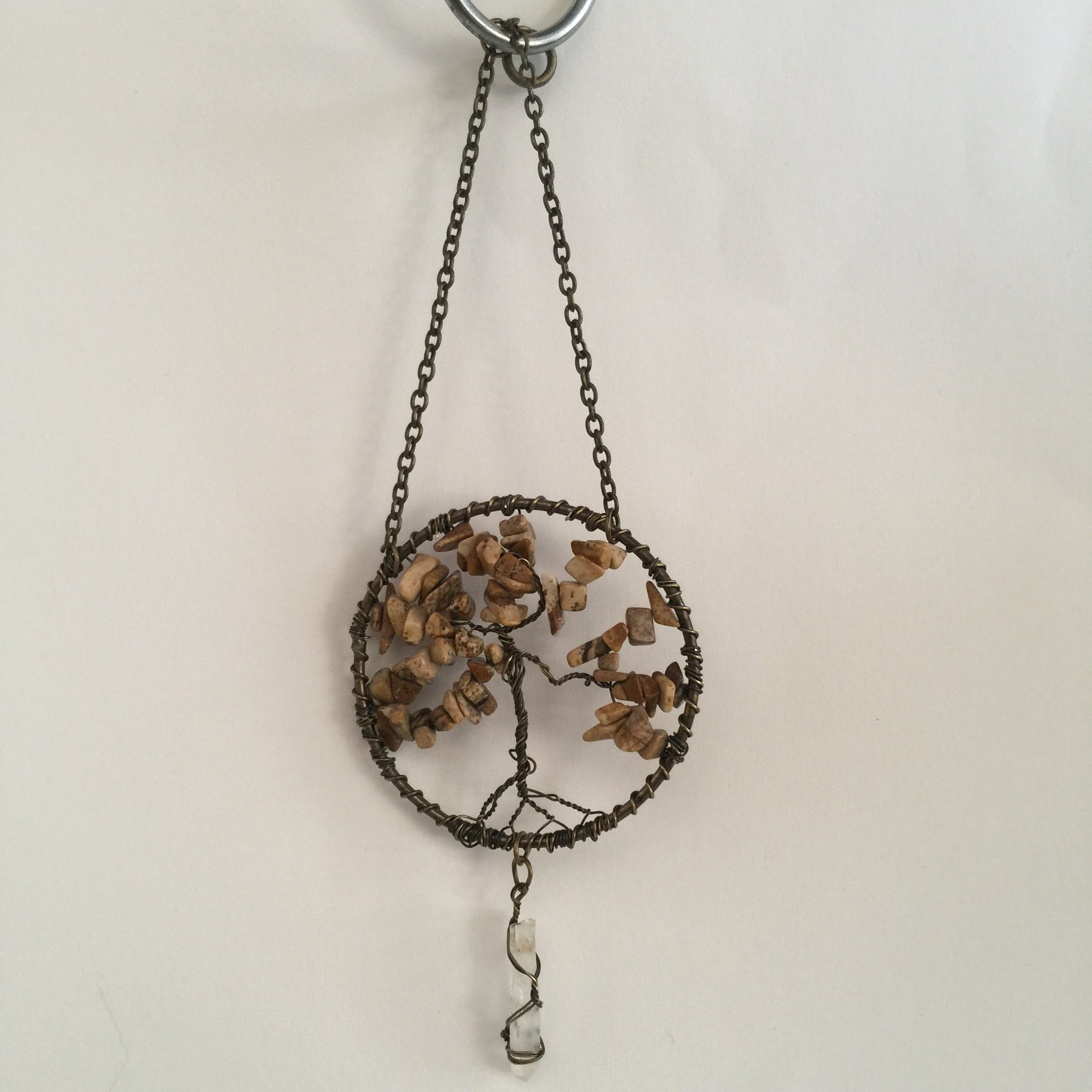 Picture jasper Copper Suncatcher with Crystal Point