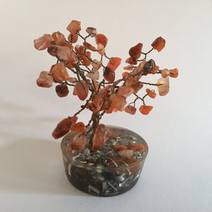 Brown Agate Tree on Copper Round Base