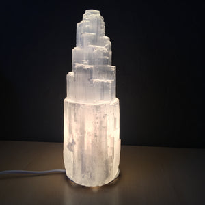 Selenite Tower Lamp - Crystal Geological
