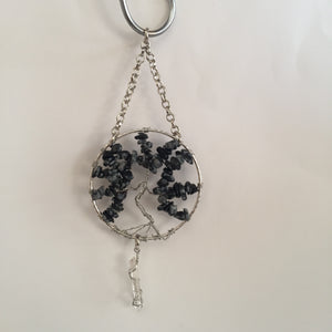 Snowflake Obsidian Silver Suncatcher with Crystal Point