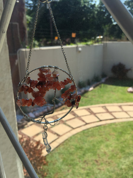 Brown Agate Silver Suncatcher with Crystal Point