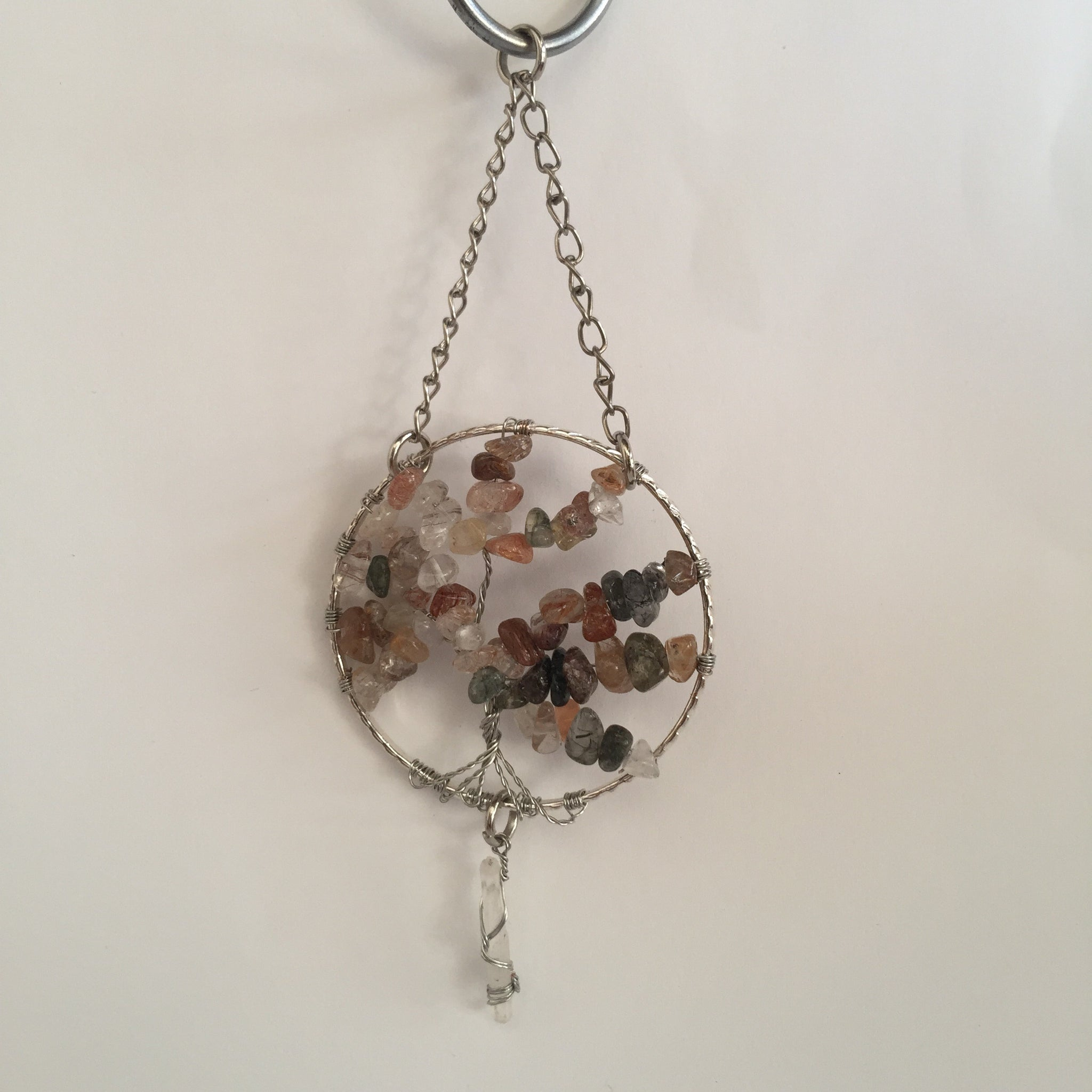 Rutilated Quartz Silver Suncatchers with Crystal Point
