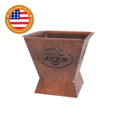 New York Jets Badlands 29.5 in. Square Fire Pit