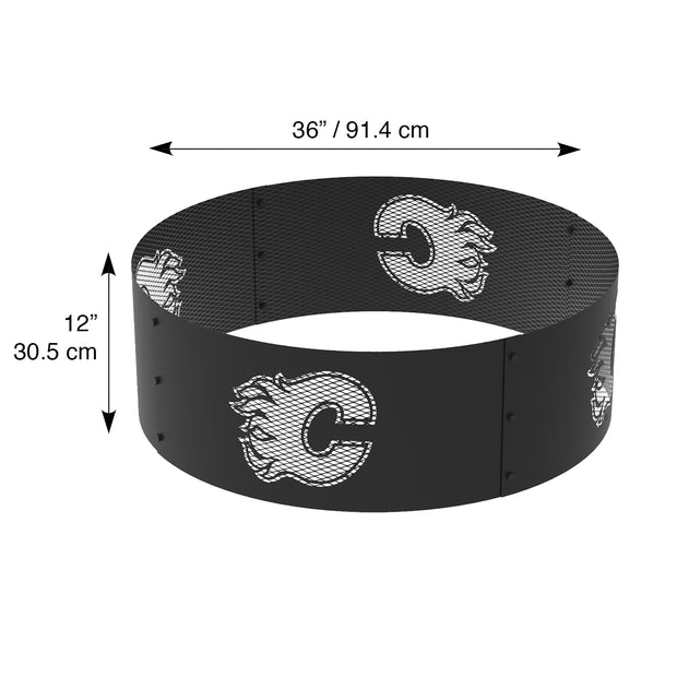 Calgary Flames 36 in. Round x 12 in. High Decorative Steel Fire Ring