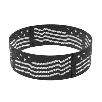 36 in. Round x 12 in. High Stars and Stripes Decorative Steel Fire Ring