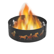 Heavy Gauge 36 in. Round x 12 in. High Horse Decorative Steel Fire Ring