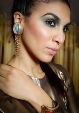 Laila in gold and turquoise vintage earrings