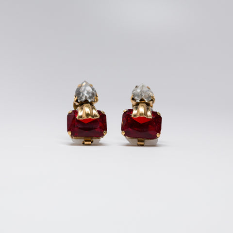 Deco faux diamond and ruby earrings