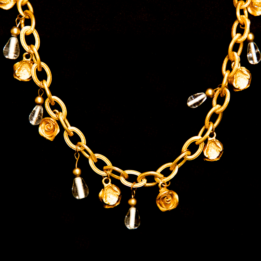 Philippe Ferrandis Gold Roses Necklace