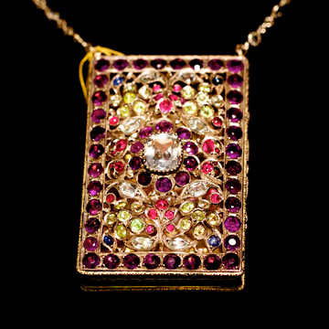 Early 20th Century Semi Precious Jewel Set Box on a Chain Necklace