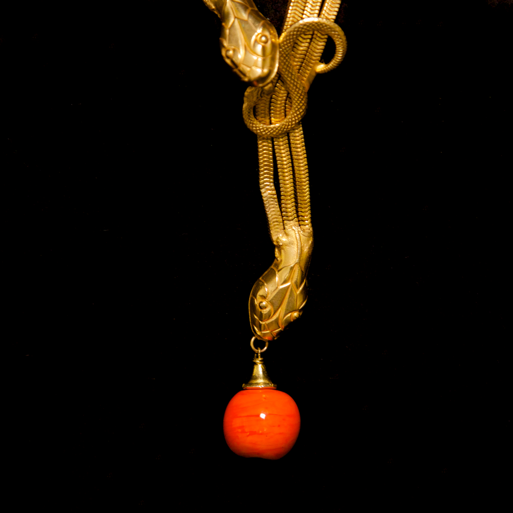 Unsigned 1960's Italian Snake Chain Necklace with Orange Poured Glass Beads