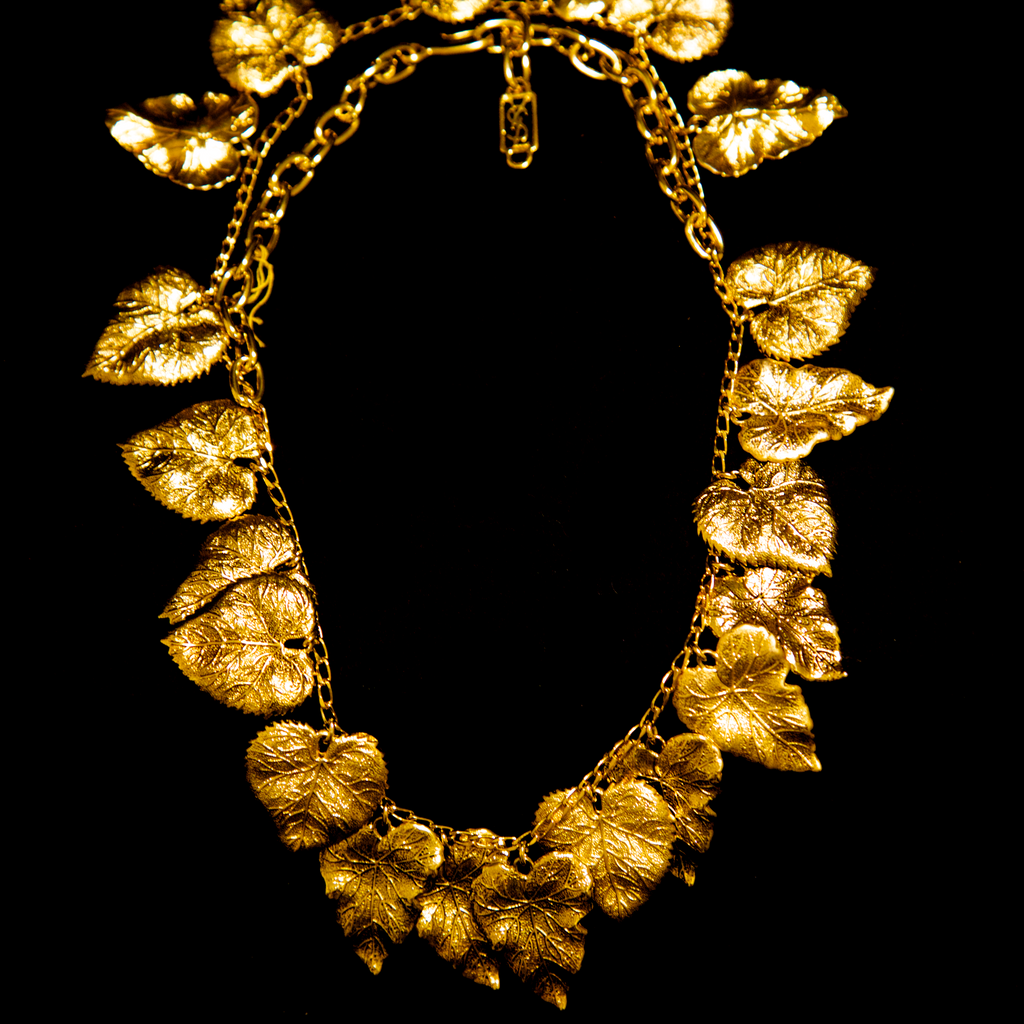 Yves Saint Laurent 1970's Gold Gilt Leaf Necklace
