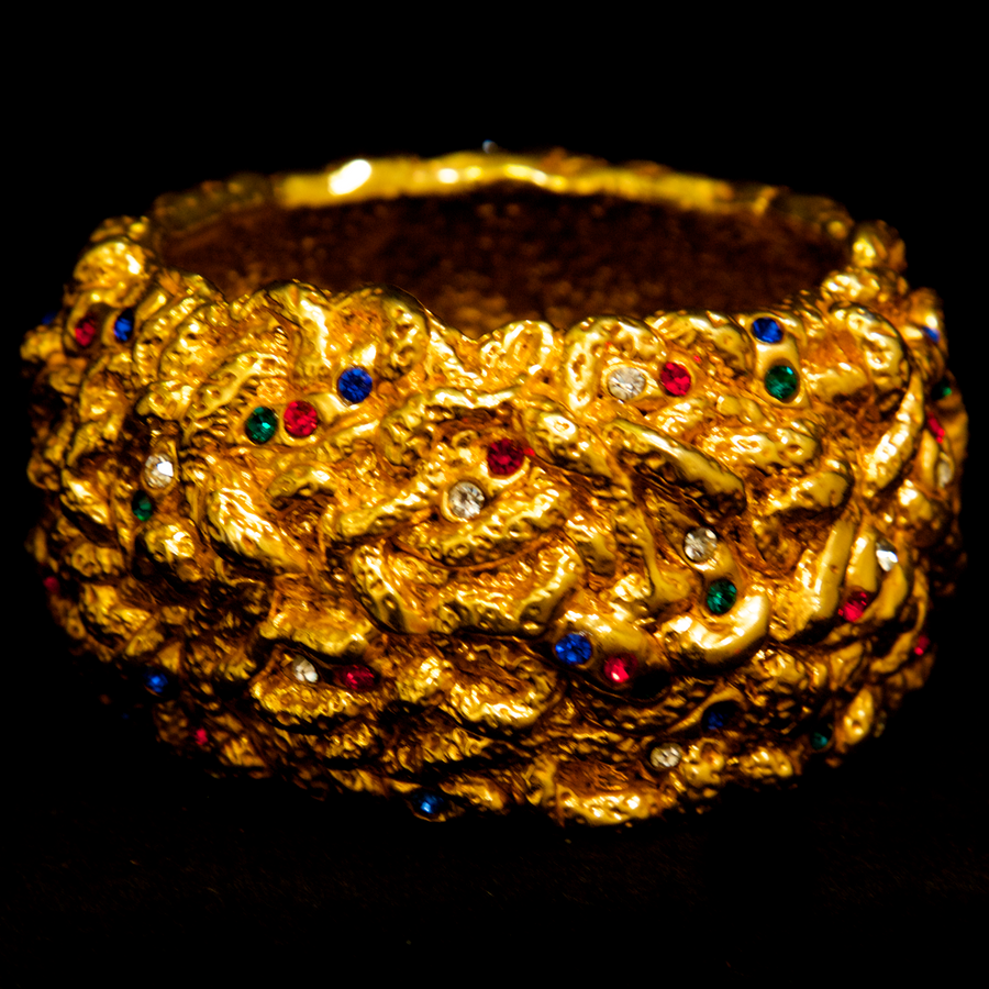 Alexis Lahellec 1990's Paris Gold Bangle Bracelet with Multicolor Stones