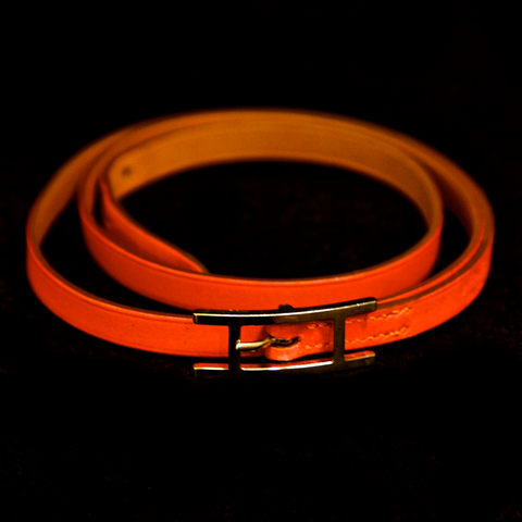 Hermes Orange Leather Wrap Bracelet
