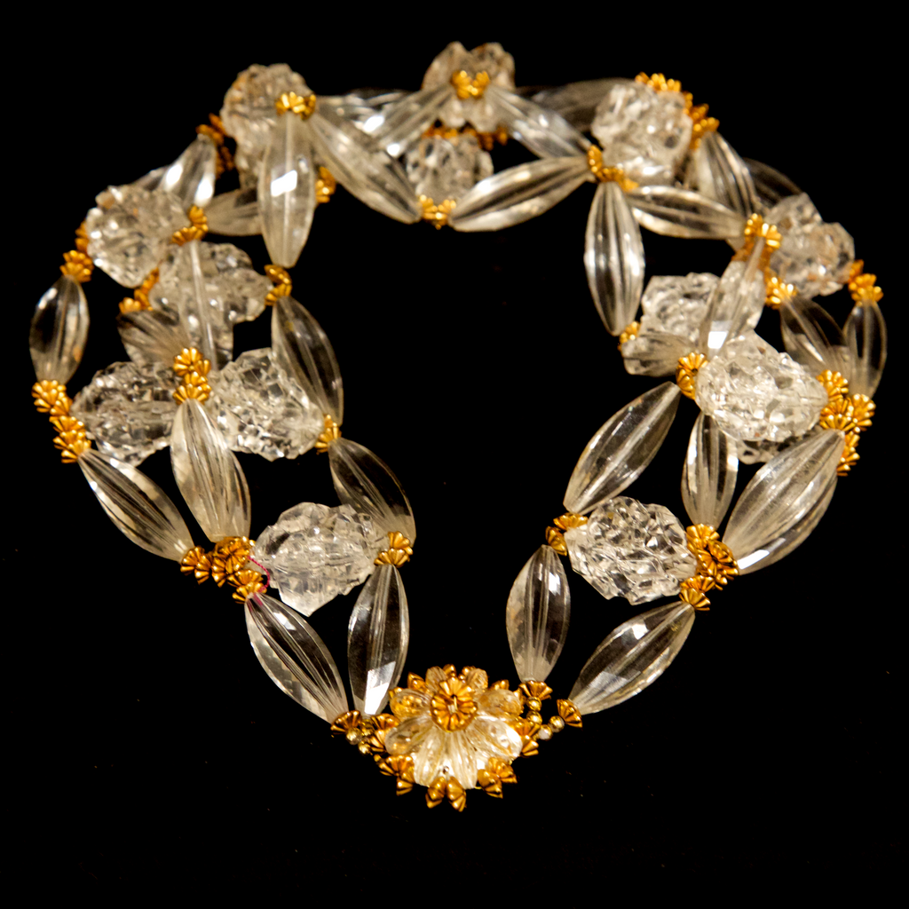 Unsigned 1950's Clear Lucite Bead and Gold Flower Necklace