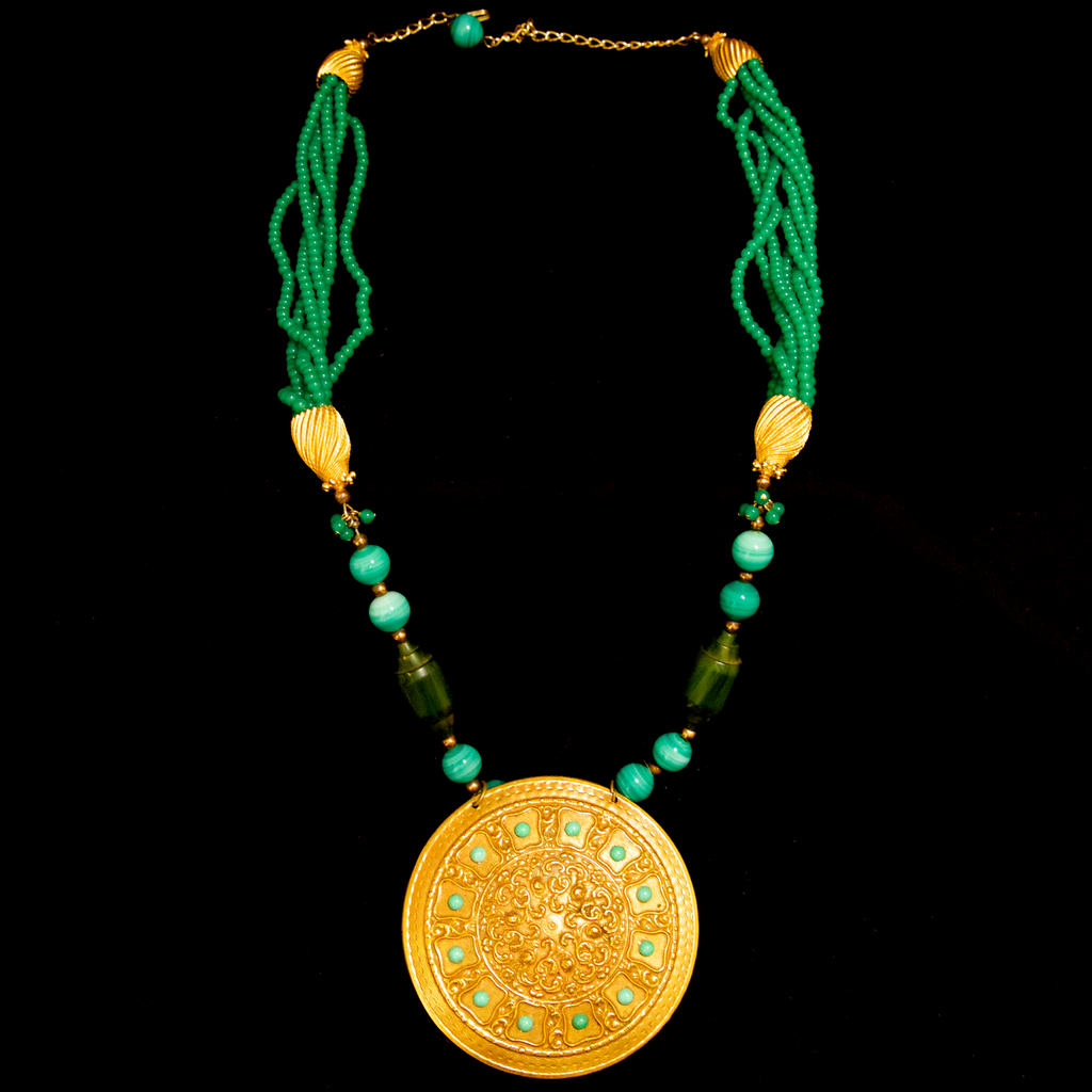 Kenneth Jay Lane 1960's Faux Jade and Gold Gilt Pendant Necklace