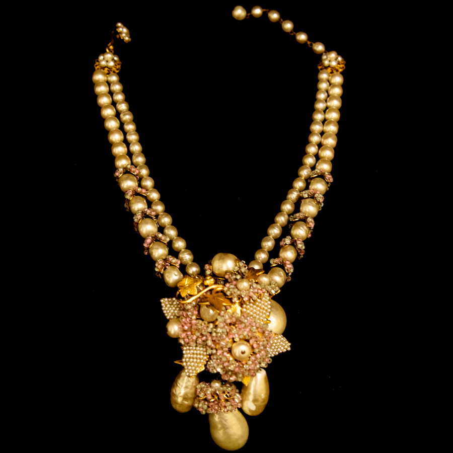 Miriam Haskell Pearl with Leaves and Diamond Necklace