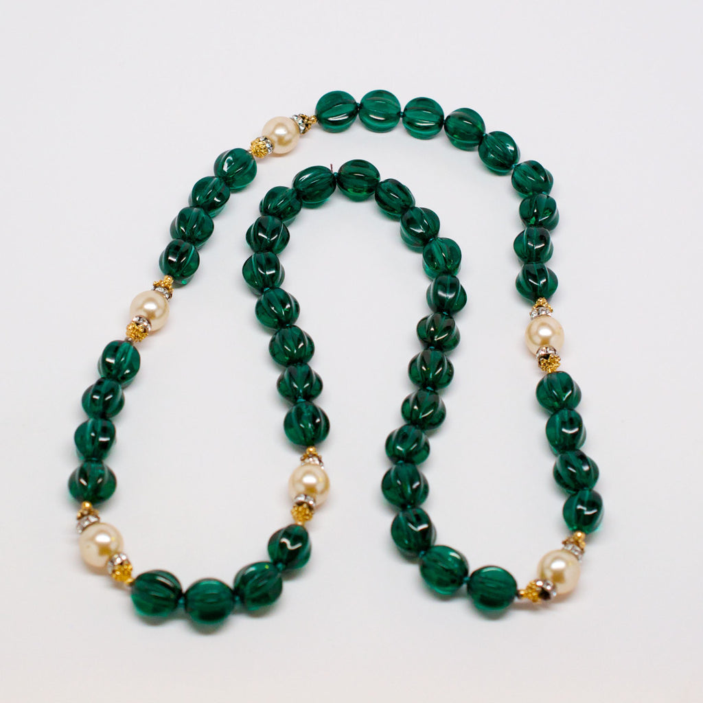 Unsigned Green Glass Bead Necklace with Faux Pearls