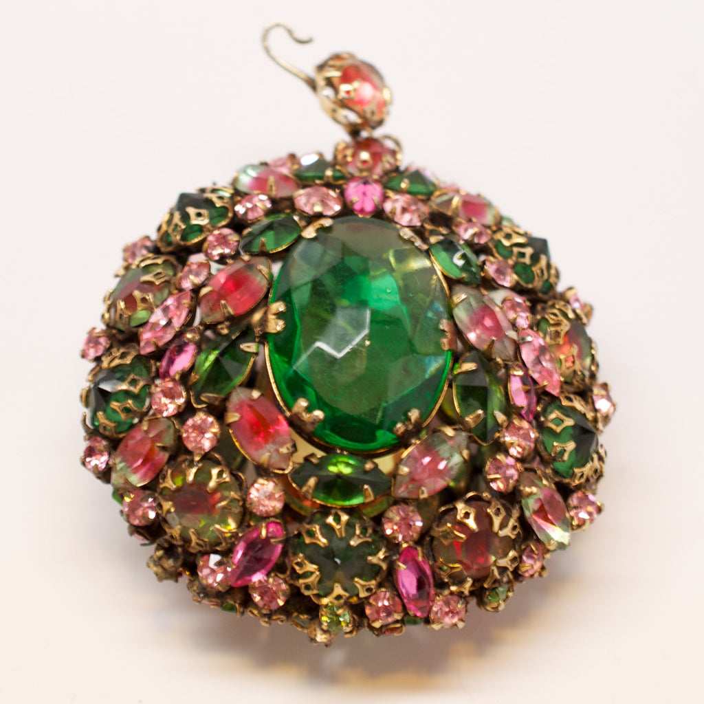 Schreiner 1950's Dual Sided Crystal Encrusted Pendant