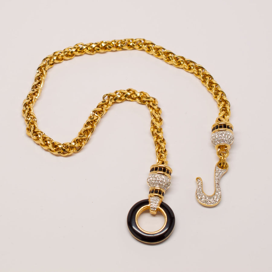 Unsigned Gold Chain Necklace with Crystal Hook Closure