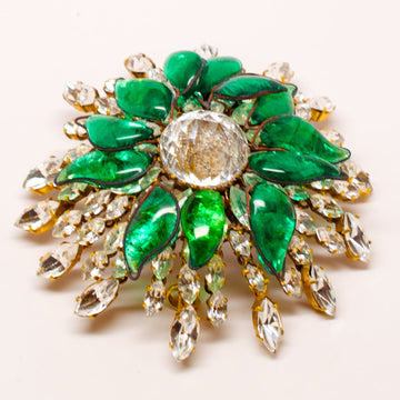Balenciaga Poured Glass and Crystal Brooch