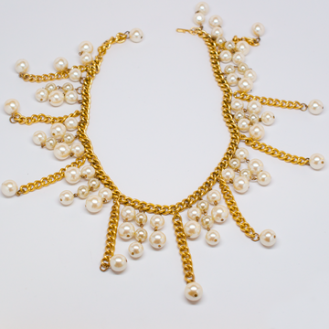 Unsigned Gold Chain with Faux Pearl Strands