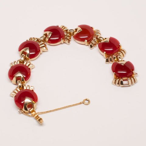 Unsigned 1950's Enamel and Gold Gilt Bracelet